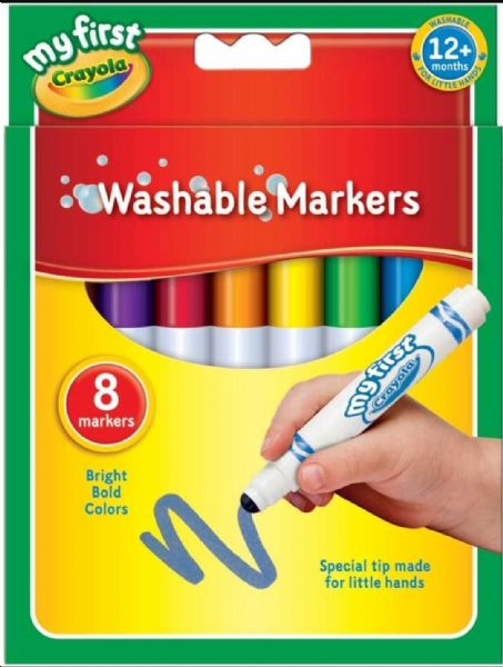 Crayola My First Markers 8 Super Washable Felt Tip Pens Suitable for 12 Months +